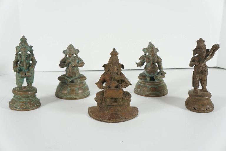 Collection of Five Indian Cast Bronze Figures of Ganesha 2
