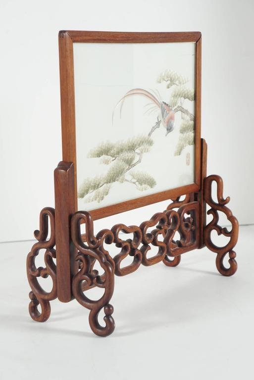 Chinese Silk Mesh and Needle Work Table Screen 2