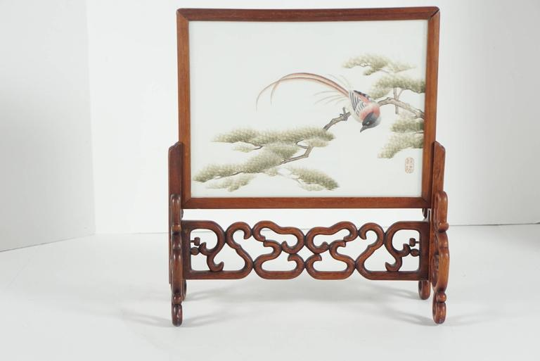 Chinese Silk Mesh and Needle Work Table Screen 7