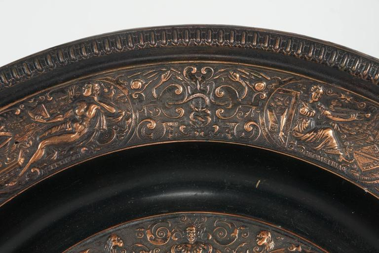 European Cast Bronze Copper Flashed Patinated Renaissance Style Charger For Sale