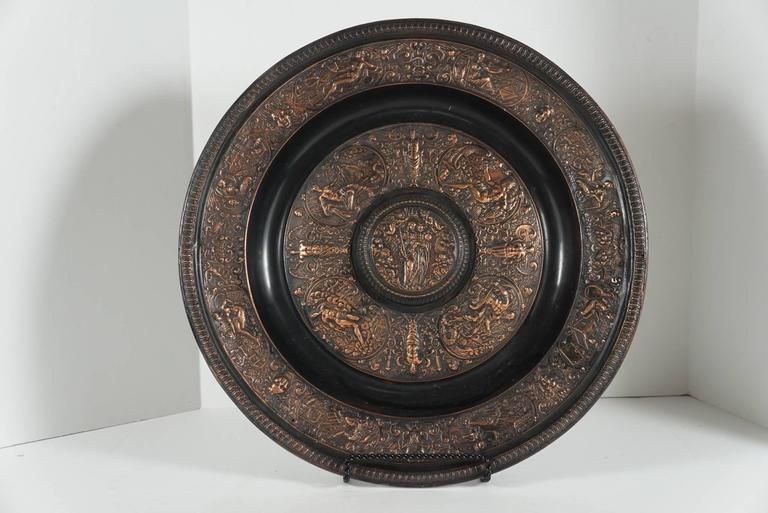 Cast Bronze Copper Flashed Patinated Renaissance Style Charger For Sale 3