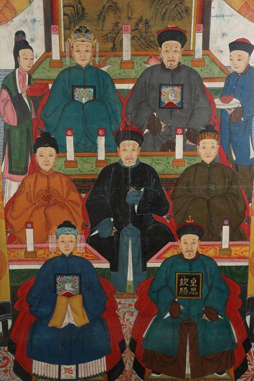 This work unusual for being done in oil on canvas is from the late period of the Manchu Rule and may in fact be more about a desire for the glory days of Chinese imperial rule then a specific family portrait completed of living members of a clan.