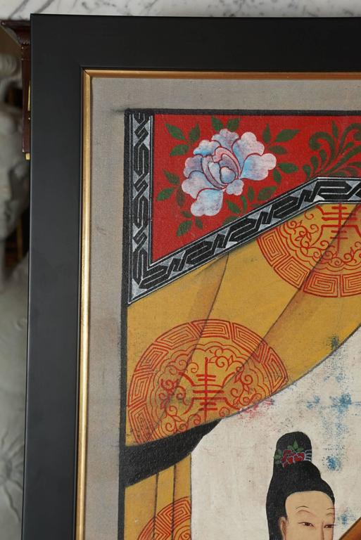 Painted Chinese Republic Period Ancestral Portrait For Sale