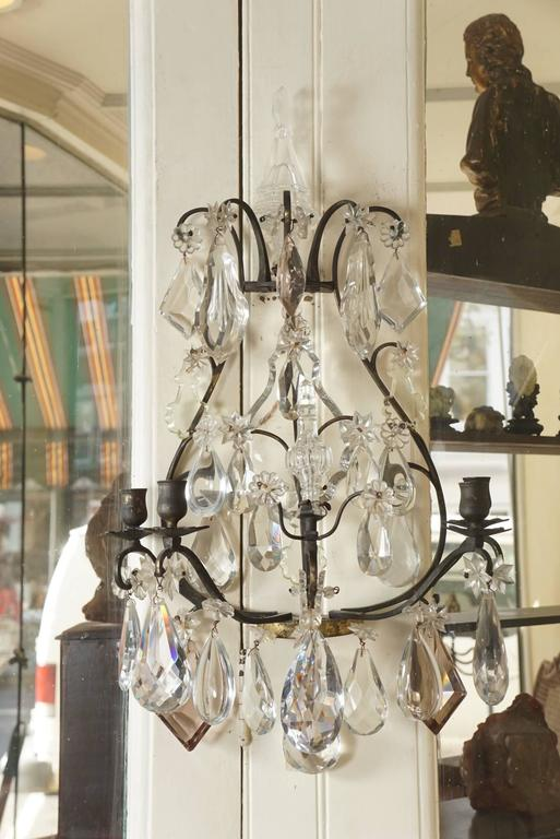 Pair of Late 19th-Early 20th Century Baccarat Patinated Bronze & Crystal Sconces For Sale 4