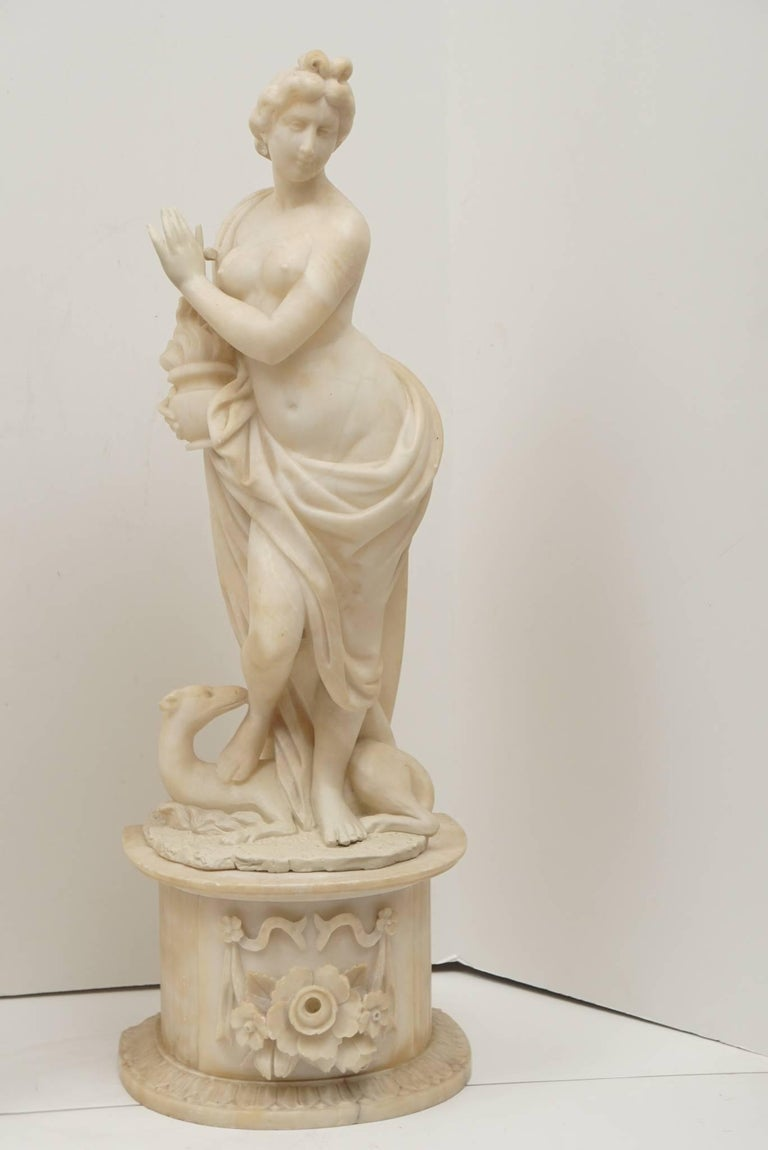 Pair of 19th Century Carved Alabaster Statues of Classically Draped Females 2