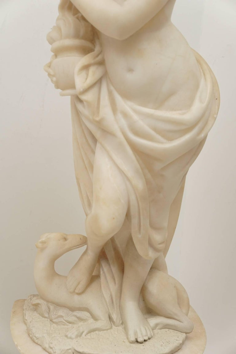 Pair of 19th Century Carved Alabaster Statues of Classically Draped Females 4