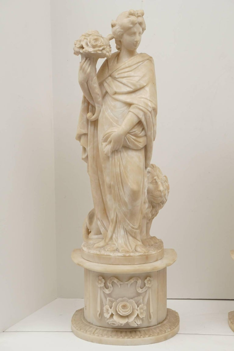 Pair of 19th Century Carved Alabaster Statues of Classically Draped Females 7