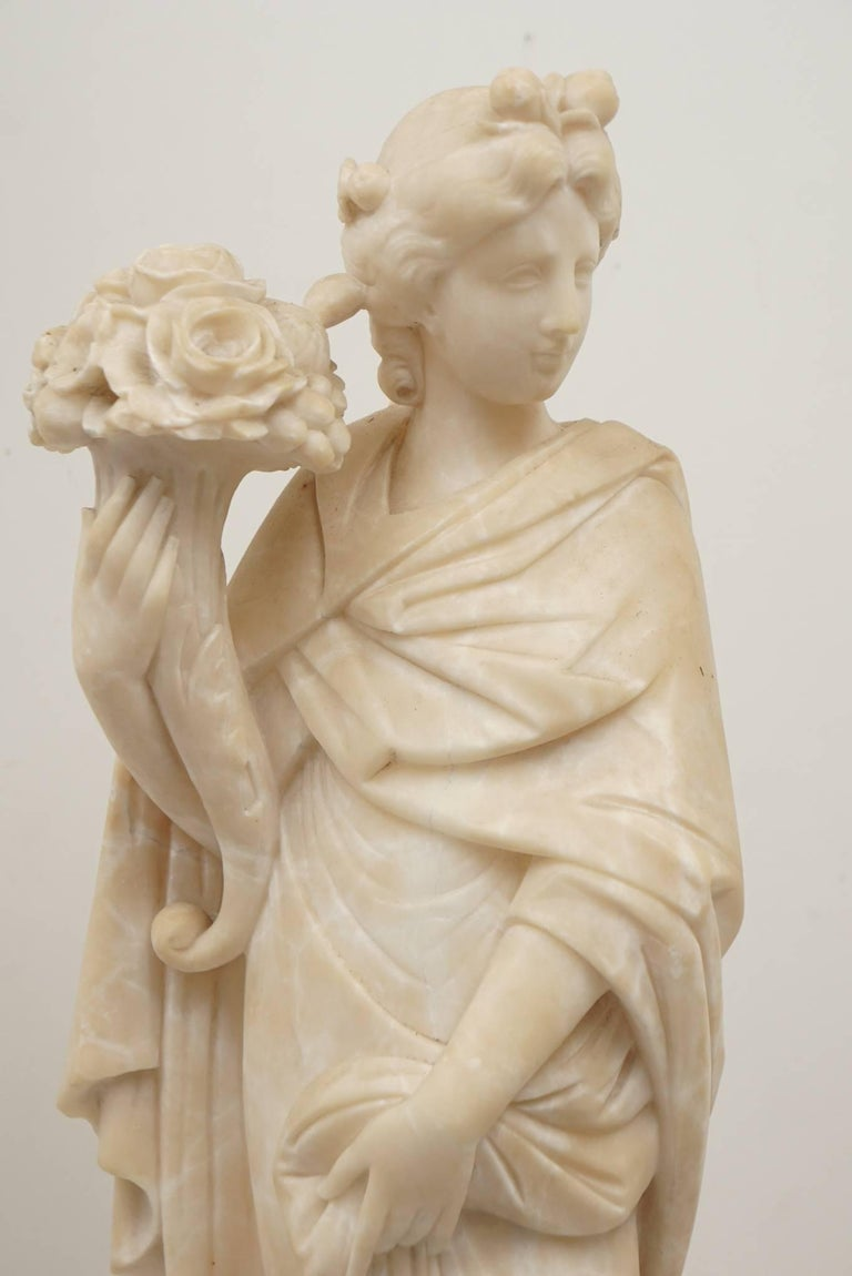 Pair of 19th Century Carved Alabaster Statues of Classically Draped Females 8