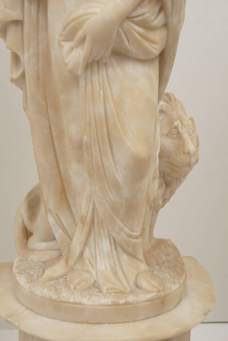 Pair of 19th Century Carved Alabaster Statues of Classically Draped Females 9