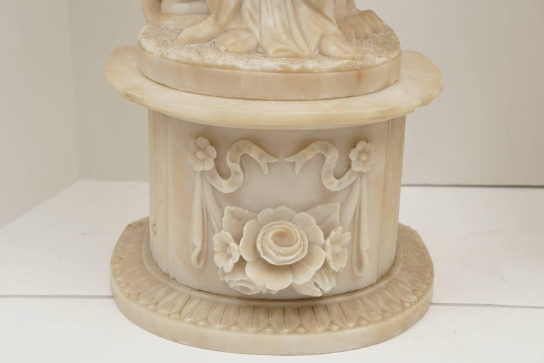 Pair of 19th Century Carved Alabaster Statues of Classically Draped Females 10