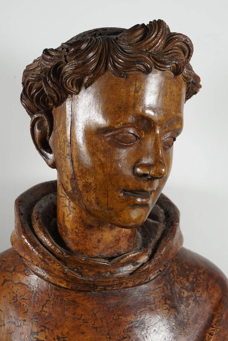 Italian Lifesize Sienese Wood Carved Bust of a Monk, circa 1580-1600 For Sale