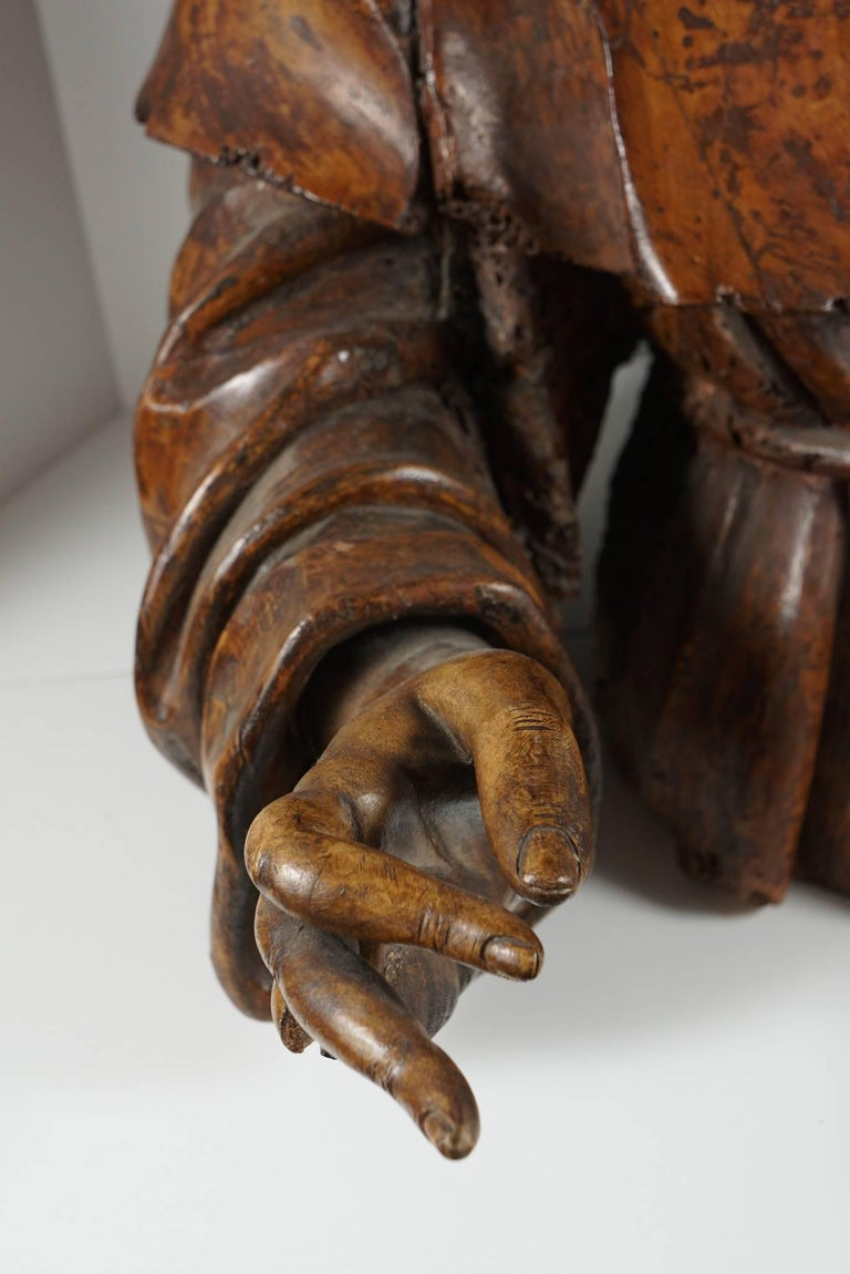 17th Century Lifesize Sienese Wood Carved Bust of a Monk, circa 1580-1600 For Sale
