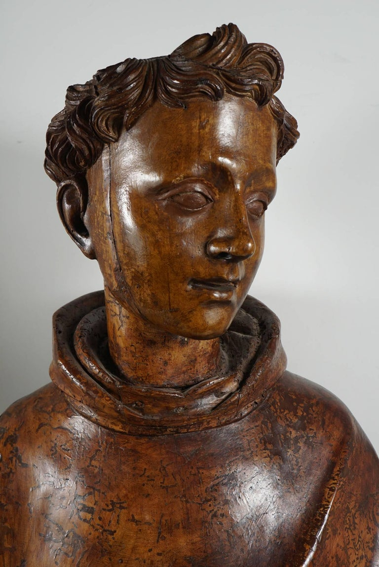 Lifesize Sienese Wood Carved Bust of a Monk, circa 1580-1600 For Sale 3