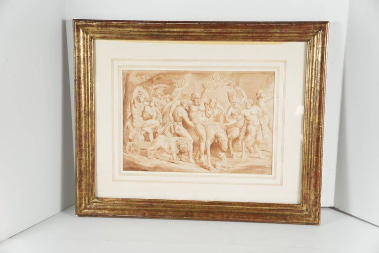 This work likely Italian dates from circa 1680-1700. It relates directly to a 16th century engraving of the same subject after a drawing by Giulio Romano. That composition is inspired by a sarcophagus representing the Triumph of Baccus and Ariadne.