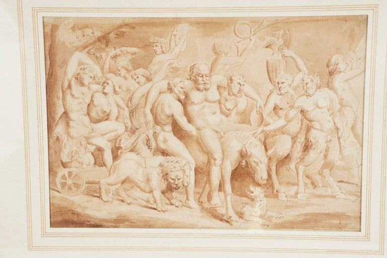 """Renaissance Late 17th Century Italian Ink and Wash Drawing of """"The Drunken Silenus"""