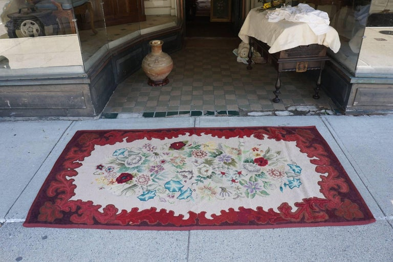 We have presented and sold a similar English hooked rug from Mrs Mellon s estate last year (reference # LU81132751952). This rug found with the binding still unfinished but ready to complete has been finished professionally. American and made circa