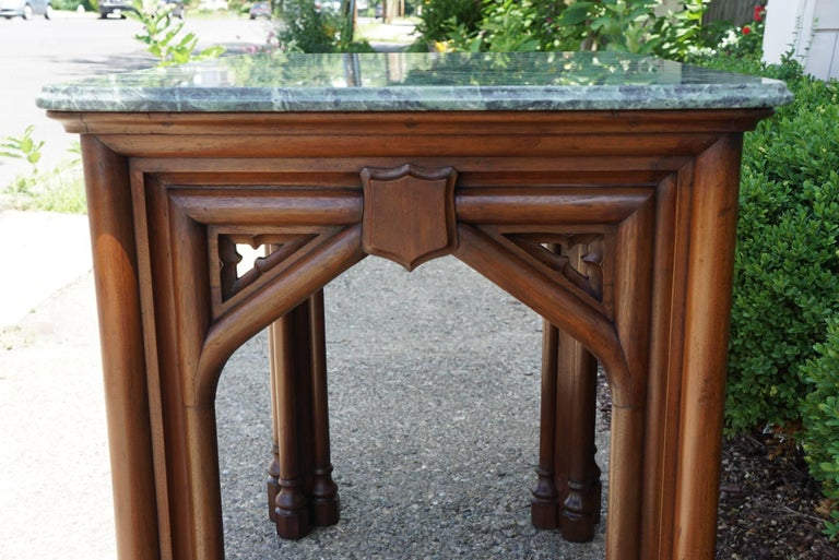 Oak 19th Century Gothic Revival English Marble Topped Centre or Library Table For Sale 1