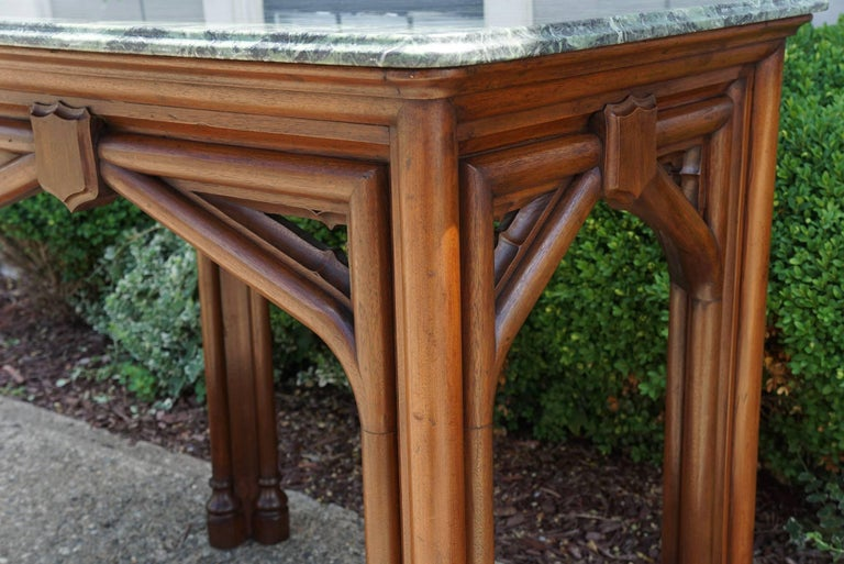 Oak 19th Century Gothic Revival English Marble Topped Centre or Library Table For Sale 2