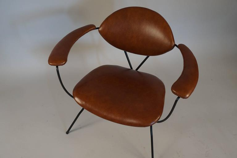 Modern Iron and Leather Chair in the Style of Carlo Hauner 3