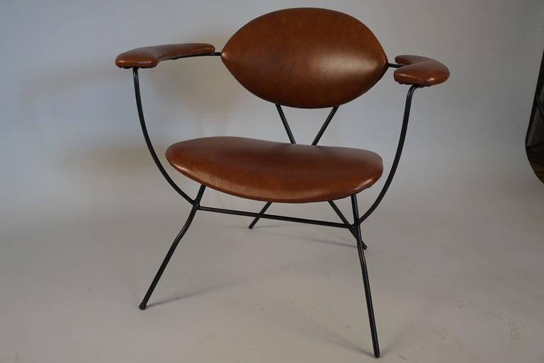 Modern Iron and Leather Chair in the Style of Carlo Hauner 5