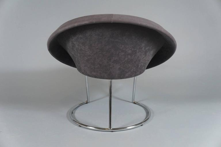 Upholstered in Velour and in the manner of a Jacobsen egg chair