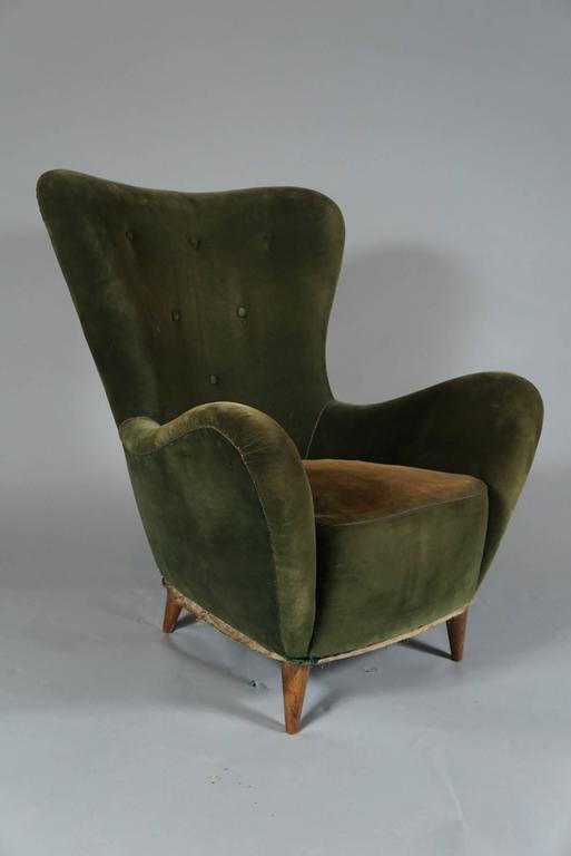 Pair of Italian Flared Back Chairs, circa 1950 2