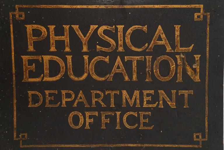 1920s Quot Physical Education Quot Office Sign At 1stdibs