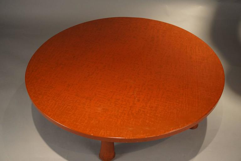 Asian inspired with Mid-Century Modern roots. Beautiful orange/red lacquer.