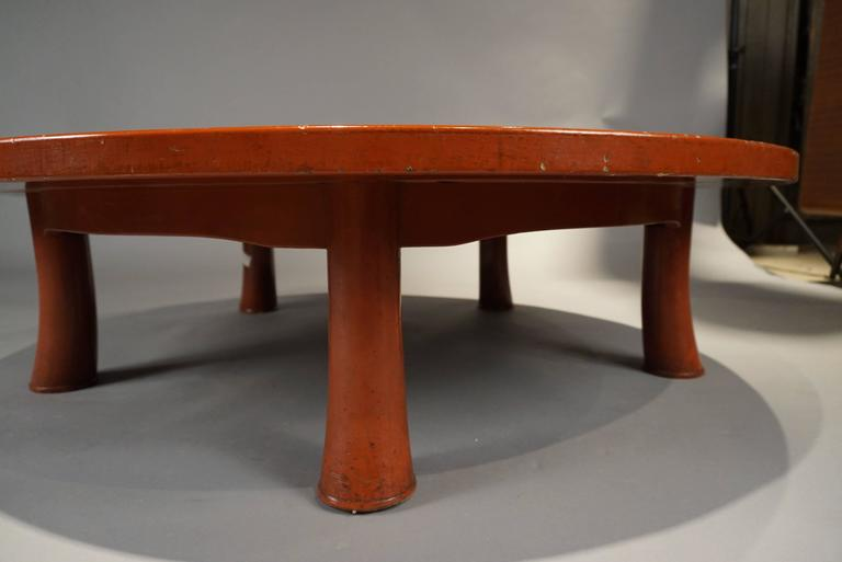 Mid-Century Modern Unusual Five Leg Red Lacquered Coffee Table in the Style of Jean Michel Frank For Sale