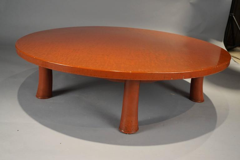 Late 20th Century Unusual Five Leg Red Lacquered Coffee Table in the Style of Jean Michel Frank For Sale