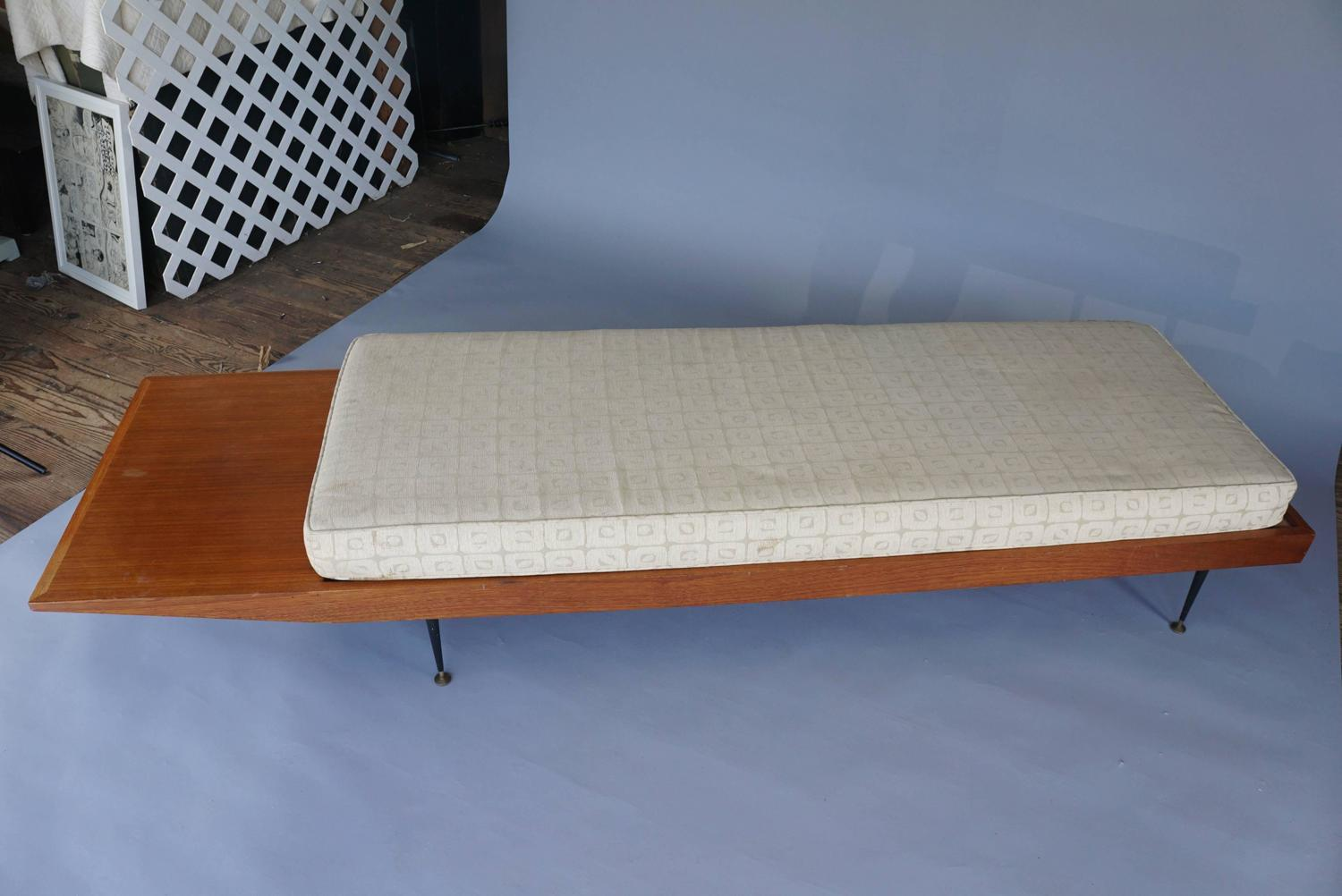 Mid Century Long Bench With Cushion For Sale At 1stdibs