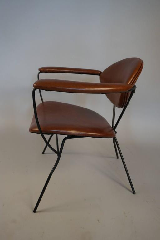 Modern Iron and Leather Chair in the Style of Carlo Hauner 4