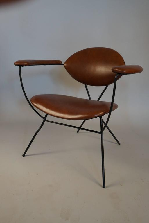 Modern Iron and Leather Chair in the Style of Carlo Hauner 2