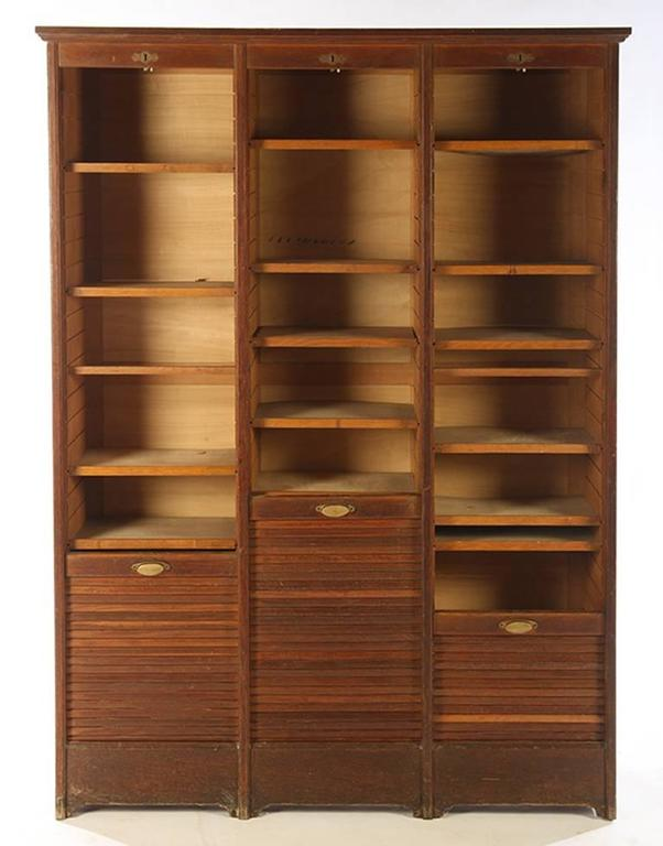 French Roll Top Cabinet, circa 1910 Having Three Vertical ...