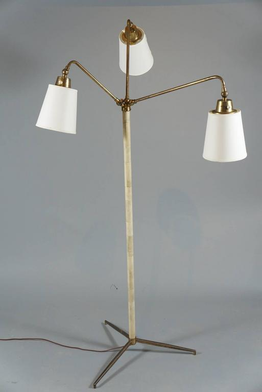 Three-Armed Brass and Bone Lamp 2