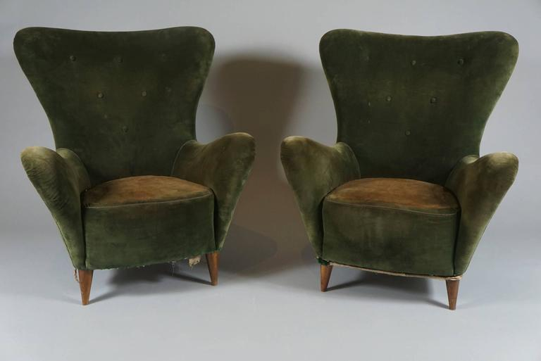 Pair of Italian Mid-Century Flair Back Chairs 3