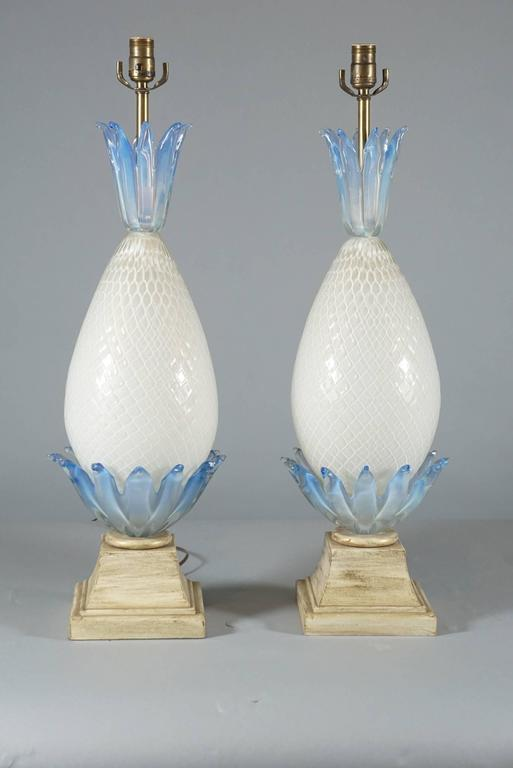 Pair of Murano Glass Pineapple Lamps 2