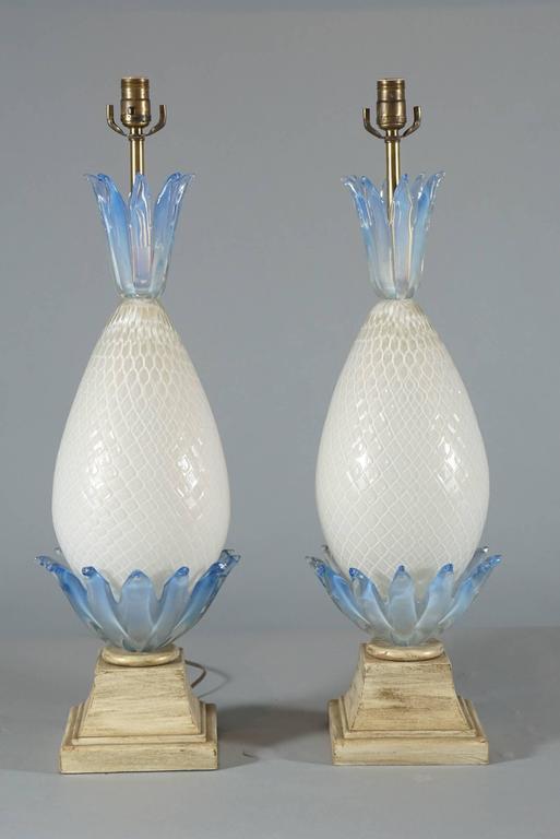 Pair of Murano Glass Pineapple Lamps 4
