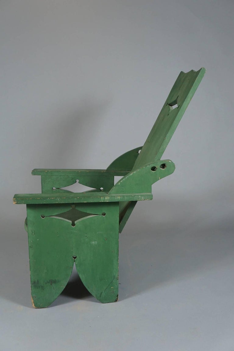 American Craftsman Adjustable Adirondack Chair in Green For Sale