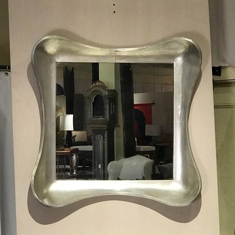 1940s Silver Leaf Mirror Labeled Grosfeld House In Excellent Condition For Sale In Hudson, NY