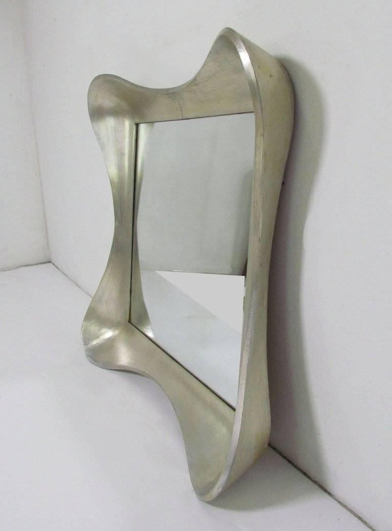 Mid-20th Century 1940s Silver Leaf Mirror Labeled Grosfeld House For Sale