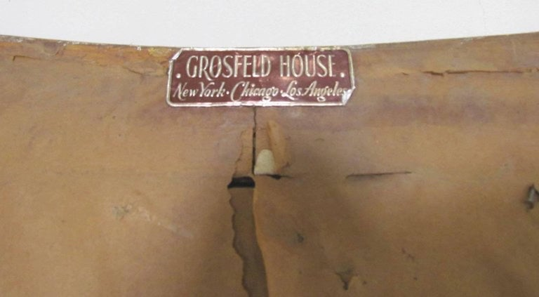 1940s Silver Leaf Mirror Labeled Grosfeld House For Sale 1