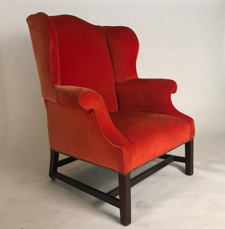 19th Century Wingback Chair Brilliant Orange Condition Of Fabric Is Good With Exception
