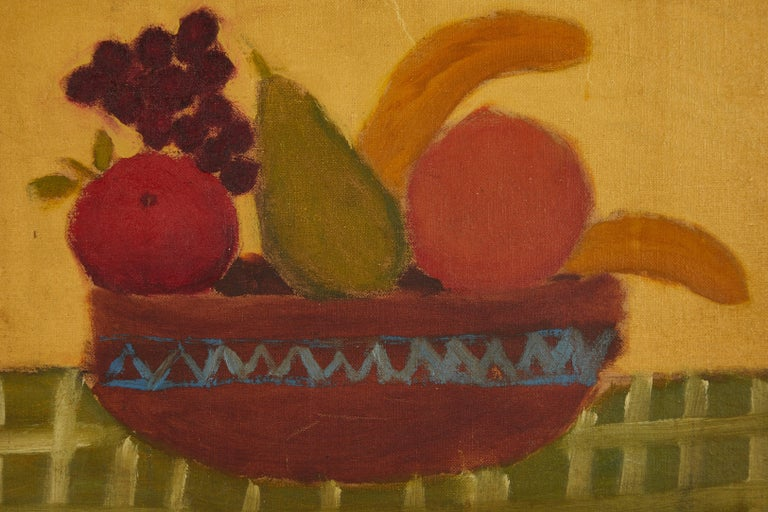 Early 20th century primitive bowl of fruit in period frame. Unsigned