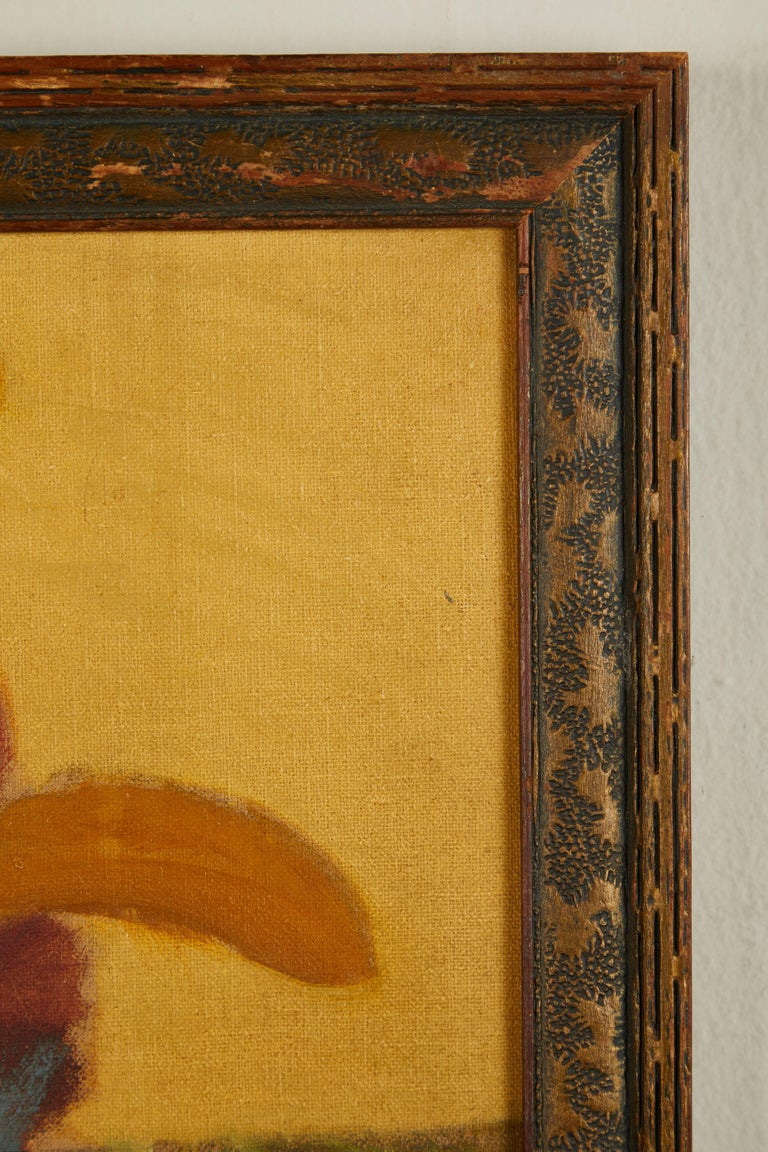 20th Century Folk Art Still Life Oil on Board For Sale