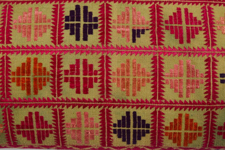 Pakistani Swat Valley Embroidered Textile Pillow For Sale