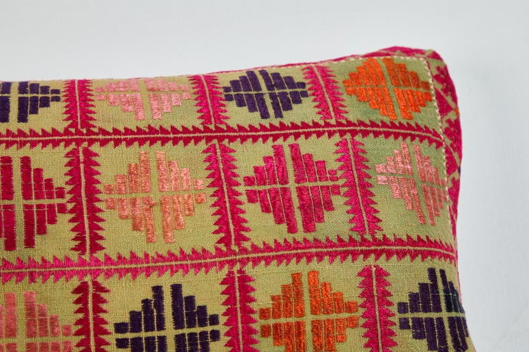Swat Valley Embroidered Textile Pillow In Good Condition For Sale In Los Angeles, CA