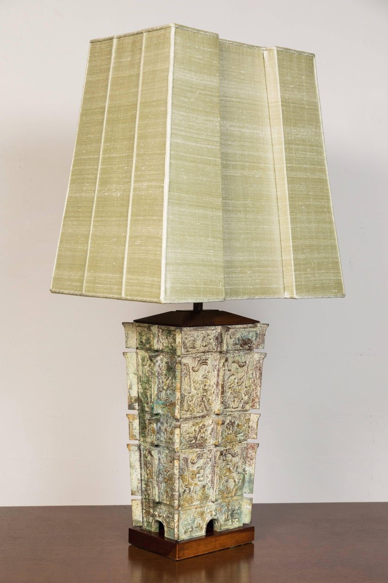 Patinated Midcentury Bronze Table Lamp For Sale