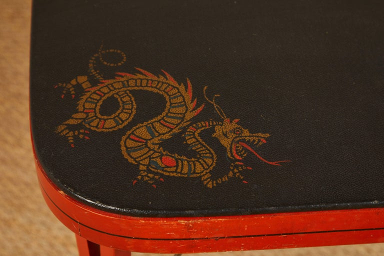 American Louis Rassiter & Sons 1920s Chinoiserie Kumfort Game Table and Chairs For Sale