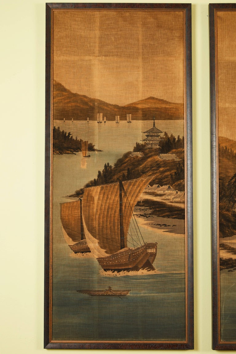 Late 19th century landscape panels. Silk voided velvet with lower areas hand painted. Pastoral scenes with boats, river, mountains and architectural details. Available to purchase individually or as a triptych.